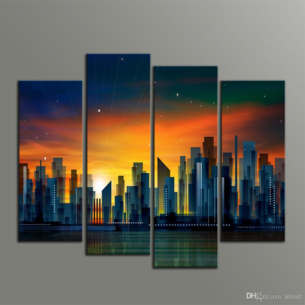 39aafe13deb8 2019 Modern Art Wall Decor Painting Sunset City Abstract Canvas Pictures  Custom Canvas Prints Stars Beach Photo For Home Decor From Utoart