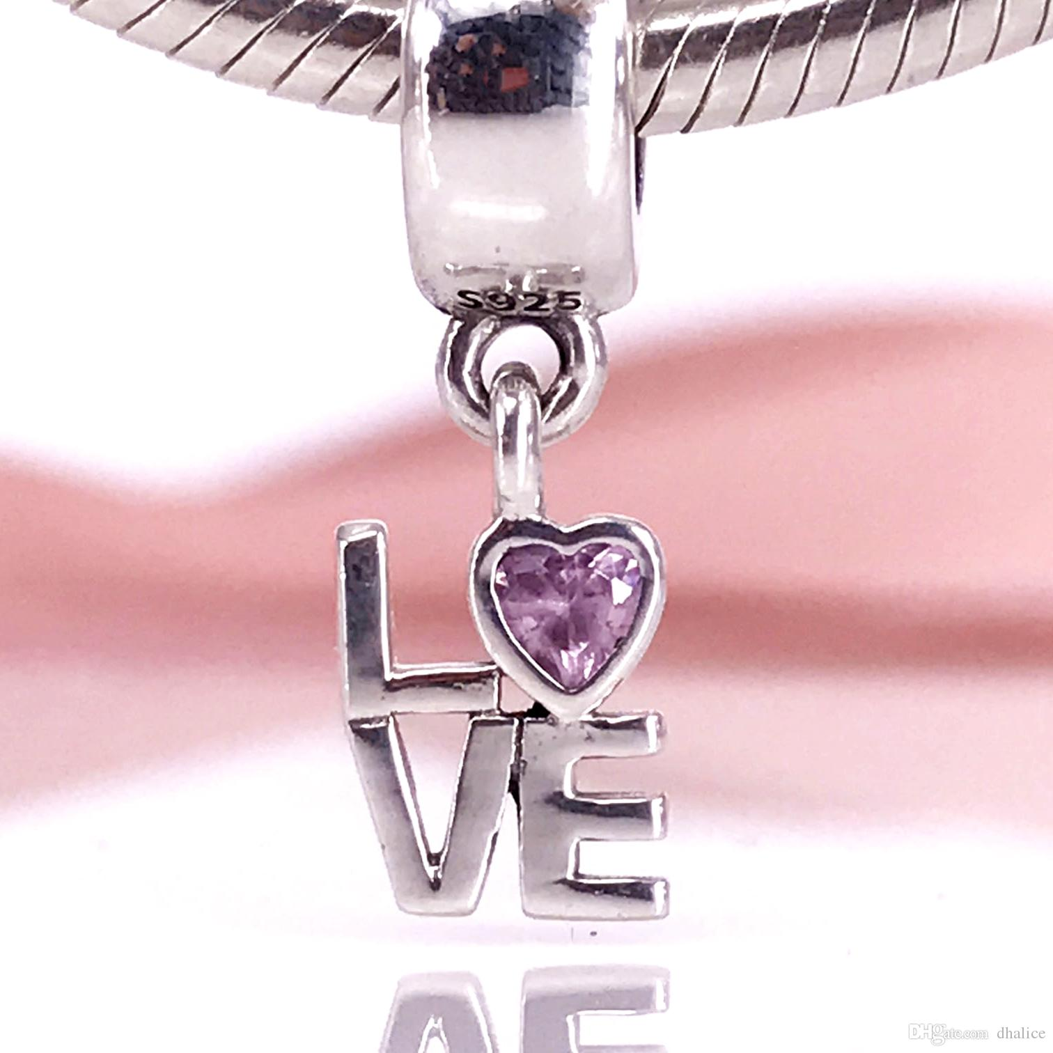 a7cff2d62 Authentic 925 Sterling Silver Fancy Pink LOVE Dangle Charm Fit DIY ...