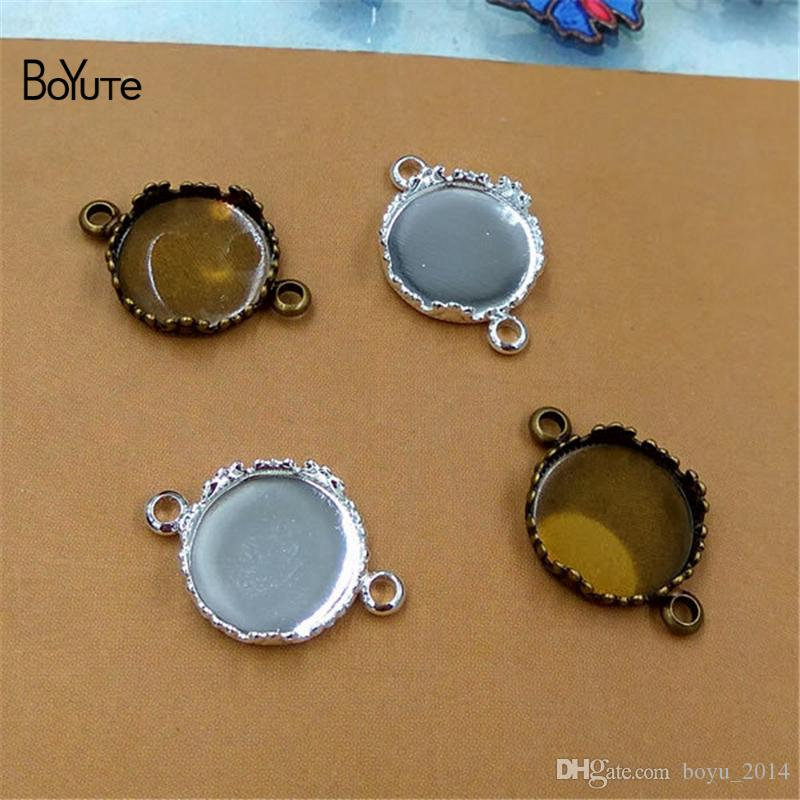 BoYuTe Round 12MM Hot sale Cameo Cabochon Base Setting Diy Connector Charms Bracelet Blank Tray Findings