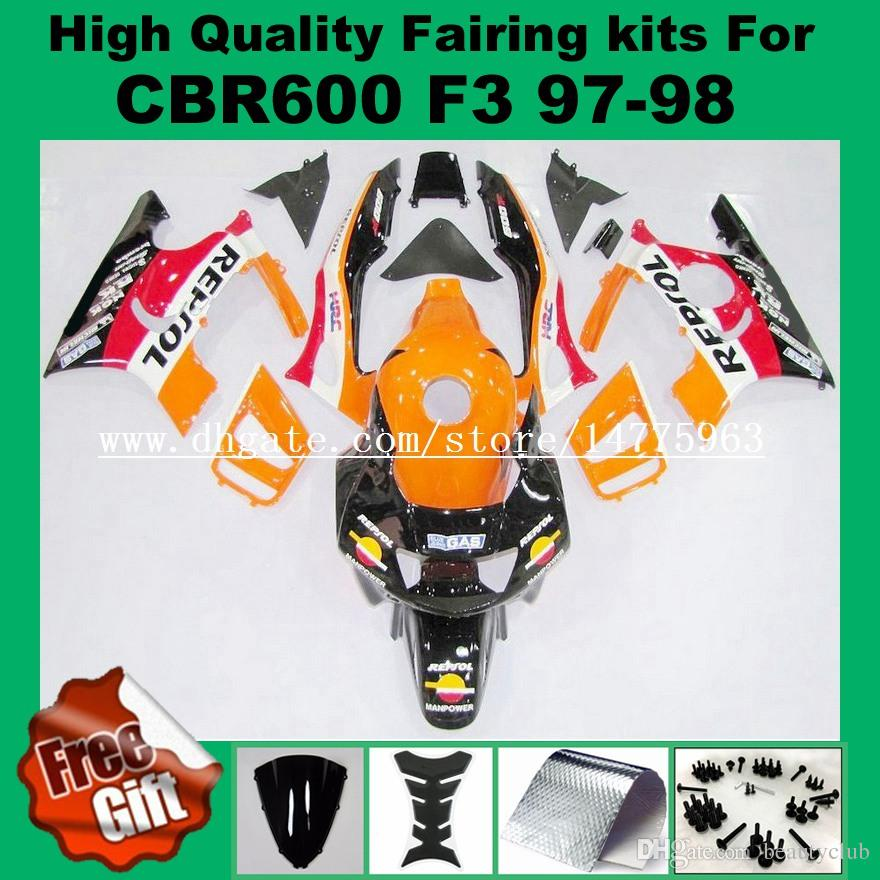 Free screws+Tank for honda CBR600 F3 fairings set CBR 600 F3 1997 1998 CBR 600F3 abs fairing 97 98 Blue yellow white black +9gifts