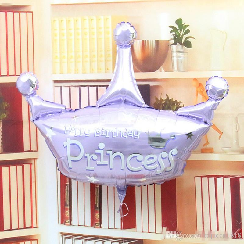 pink and purple helium baloon princess crown foil balloons for happy birthday party decoration globos