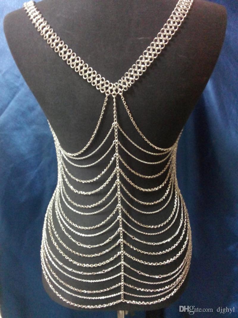 Hot Newest Handmade Fashion Trendy Europe Multilayer Women Gold Sexy Body Chains Summer Beach Nice Body Chain Jewelry
