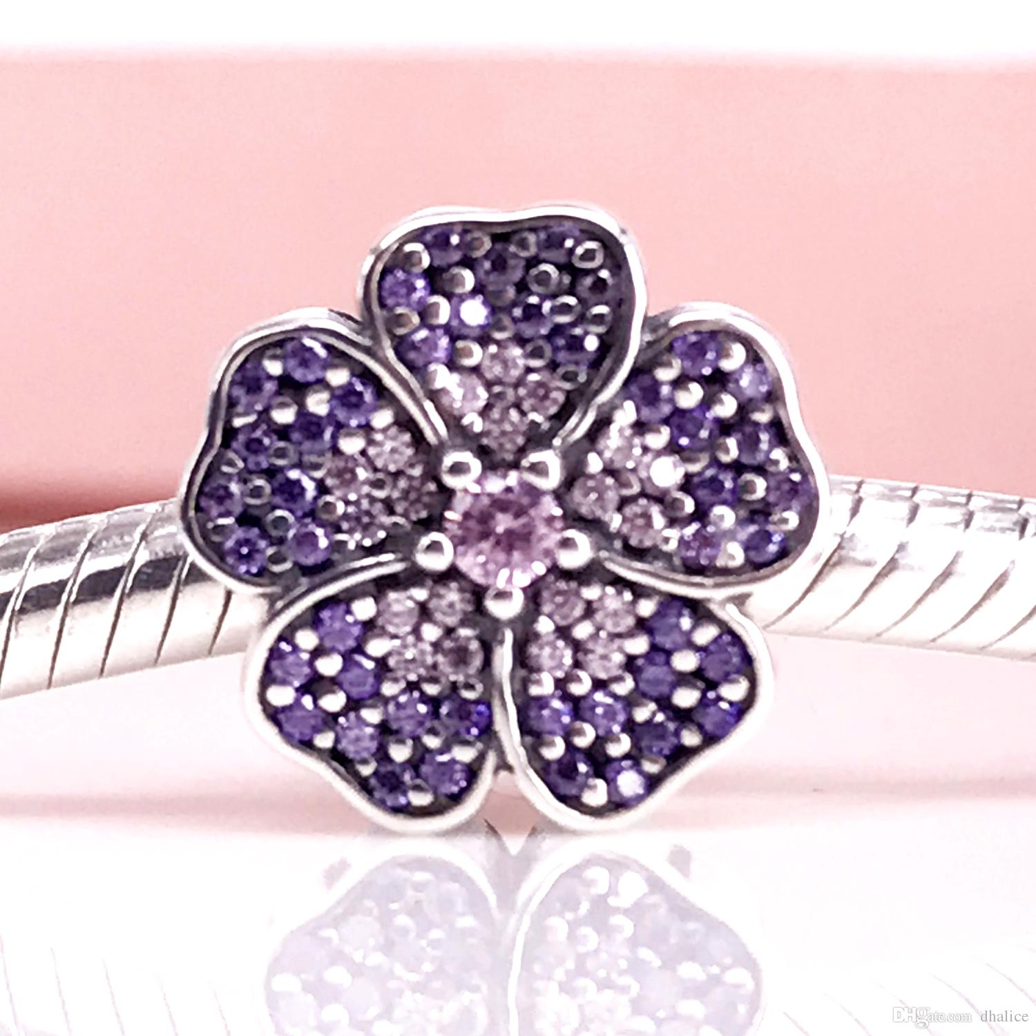 2018 Authentic 925 Sterling Silve Bead Primrose Pave Silver Charm With Pink And Purple Cubic Zirconia Fit Diy Bracelet & Necklace From Dhalice