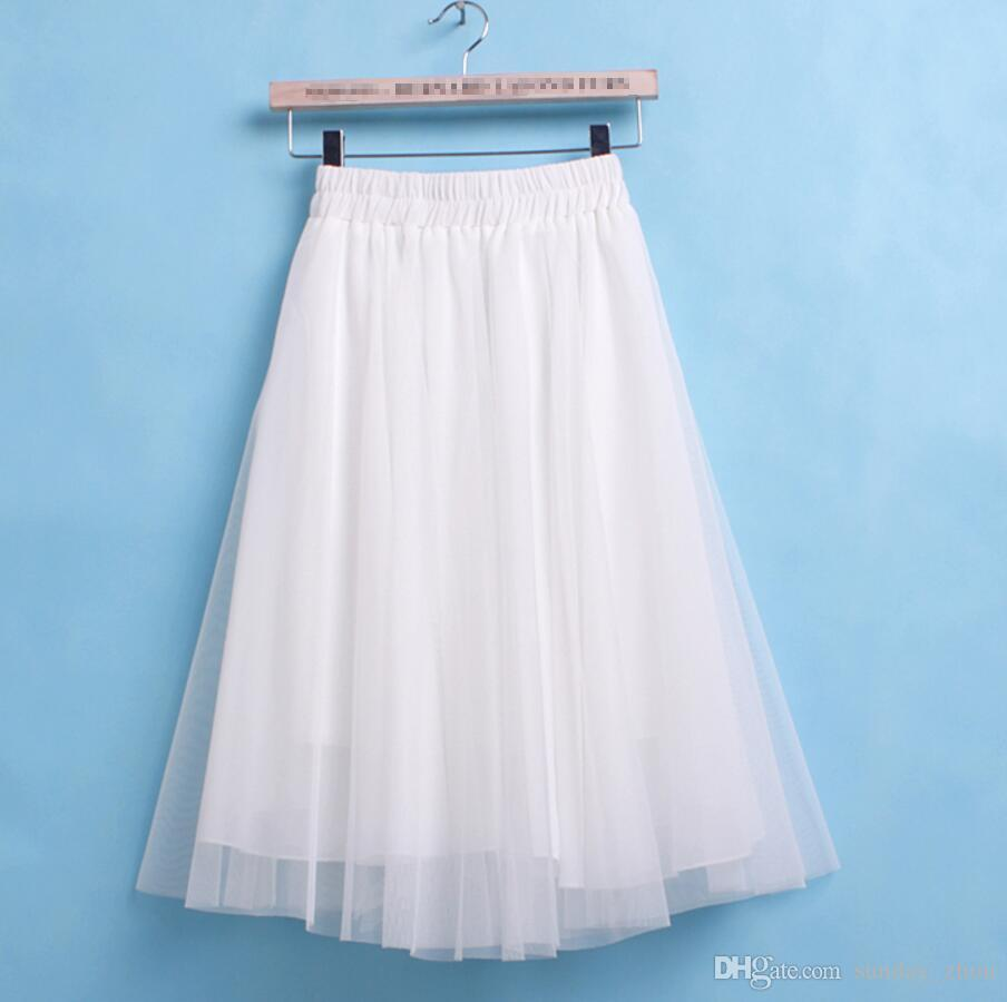 Blanco Tulle Tutu Faldas Adulto Mujer Vintage Verano Adulto Mujer Princesa Dama Blanca Rodilla Longitud Faldas