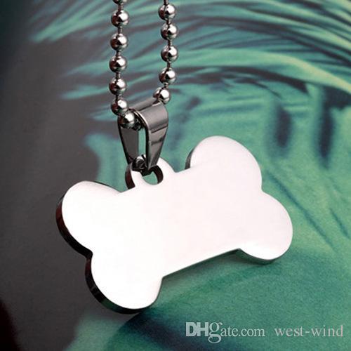 Нержавеющая сталь кости форма собака Теги зеркало поверхности Pet ID карты сплава кошка собака Теги домашние животные гравировка подвески C44L