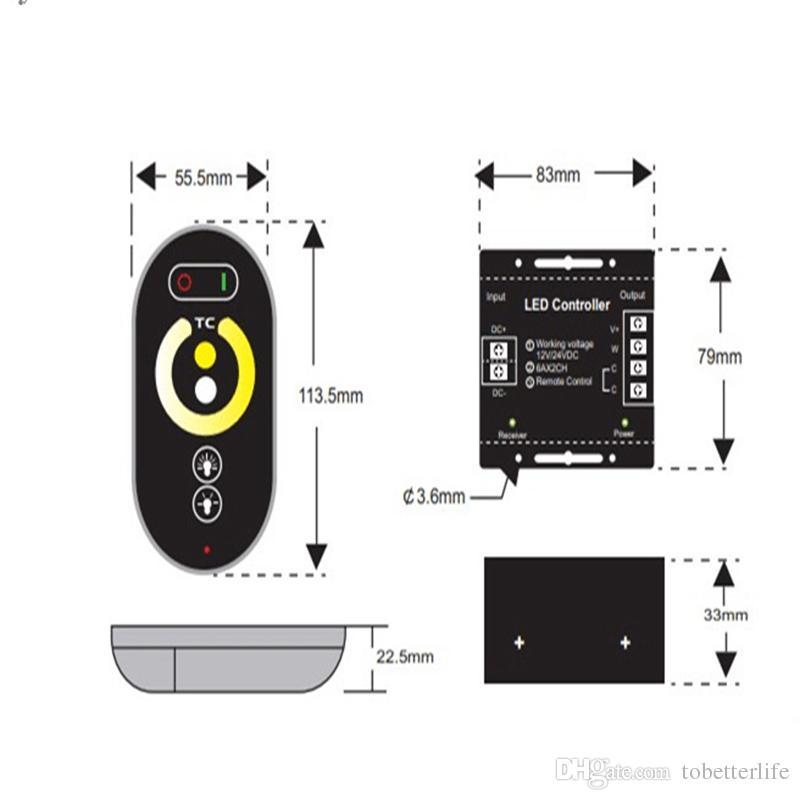 Control remoto inalámbrico RF Controladores de temperatura de color blanco cálido Dimmer brillo ajustable Color único LED Light Strip DC 12V 24V