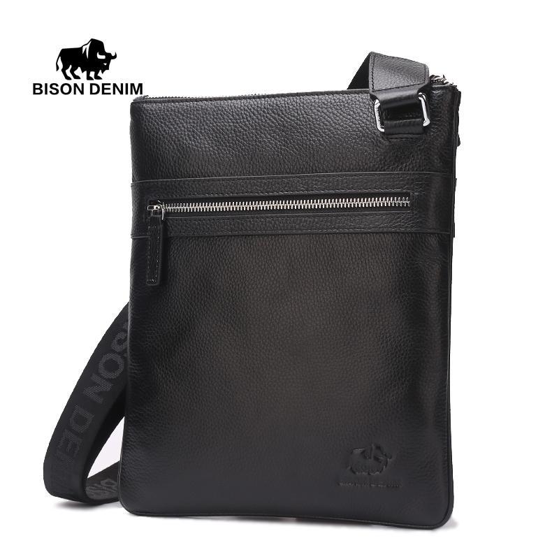 510c5b9e4a1f Wholesale Bison Denim Mens Shoulder Bag Genuine Leather Light Weight  Satchel IPad Tablet Messenger Bag Large Handbags Black Leather Handbags  From ...