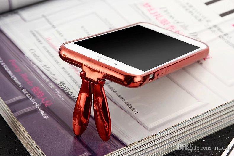 3D Sevimli Tavşan Kulak Stander Vaka iPhone X Için 7 artı Yumuşak Silikon PC Glitter Sıvı Quicksand iPhone 6 6 artı Kız Kapak