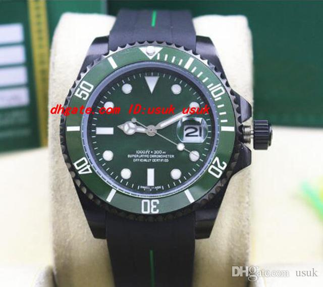 Top Quality Luxury Wristwatch Rubber Bracelet PVD Coating 116610 Green Ceramic BEZEL/DIAL 40MM Automatic Mechanical Men Watches New Arrival