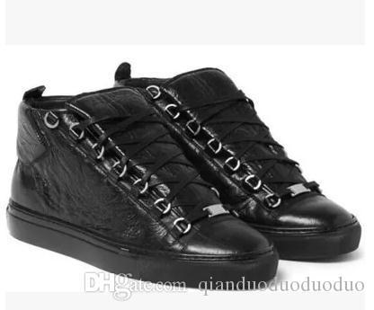남자 패션 분야 높은 상위 소 가죽 주름 균열 가죽 레이스 업 프랑스 스타일 스니커즈 kanye west Shoes