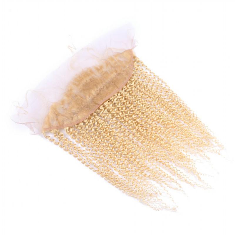 변태 곱슬 # 613 처녀 브라질 인간의 머리 귀 귀 13x4 레이스 정면 표백 된 매듭 최고의 판매 금발 전체 레이스 정면 폐쇄