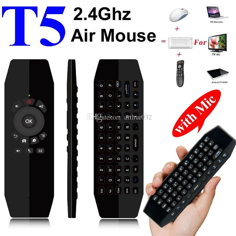 289cfa551cd T5 Mic 2.4G Wireless Fly Air Mouse With Microphone Voice Universal Remote  Control Keyboard IR Learning Mini Keyboard For Android TV Box PC Remote  Computers ...
