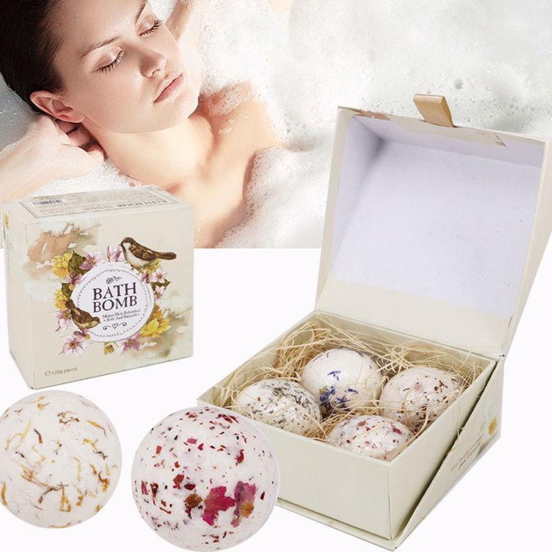 Natural Sea Salt Bath Ball Set Lavender Rose Flower Bubble