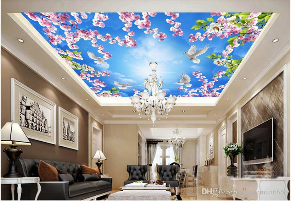 3d ceiling wallpaper for bedroom walls custom 3d wallpaper for ceilings Peach Blossom Pigeon Beautiful 3d ceiling wallpapers for living room