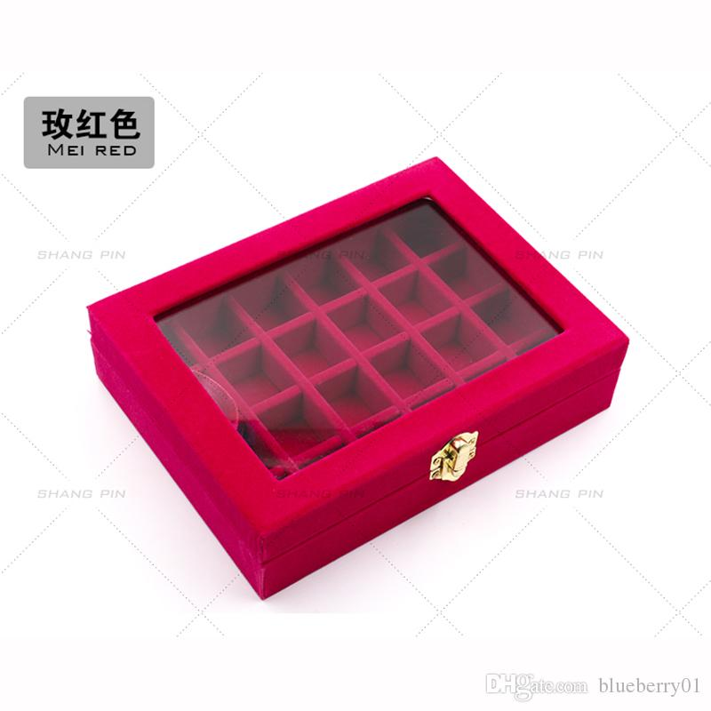 Scatola di immagazzinaggio di plastica trasparente divisa 24/28 Griglia di gioielli strass Bead Case Decorazione Accessorio Pillole Contenitore Holder