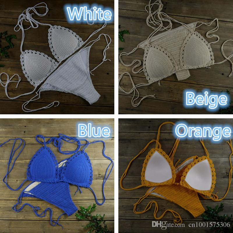 Classic Crochet Bikini Set , Baby blue Crochet Swimwear Beachwear Crop Top Set - Crochet Top + Crochet bottom 13 Colour
