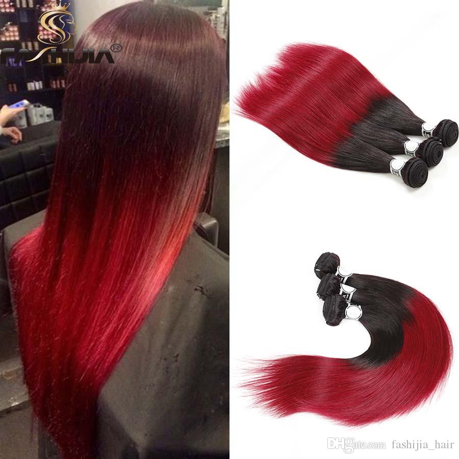 Peerless Ombre Bright Red Straight Long Peruvian Virgin Human Hair