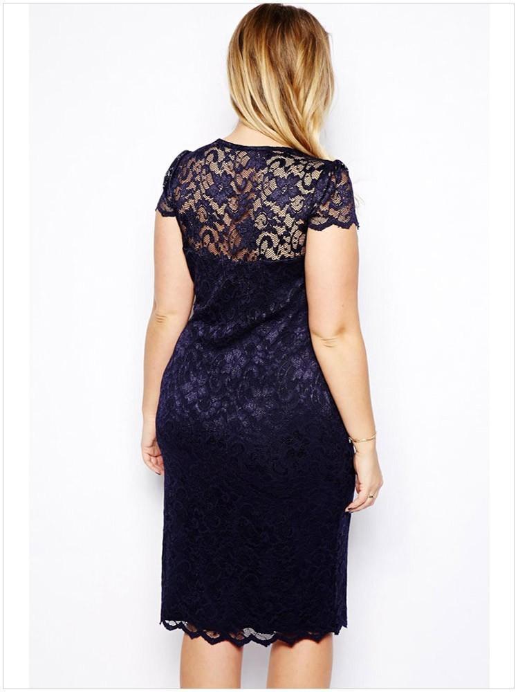 Fashion plus size lace dress vintage large skirts prom or party women clothes short sleeve deep sexy V neck elegant & stylish OL-8032