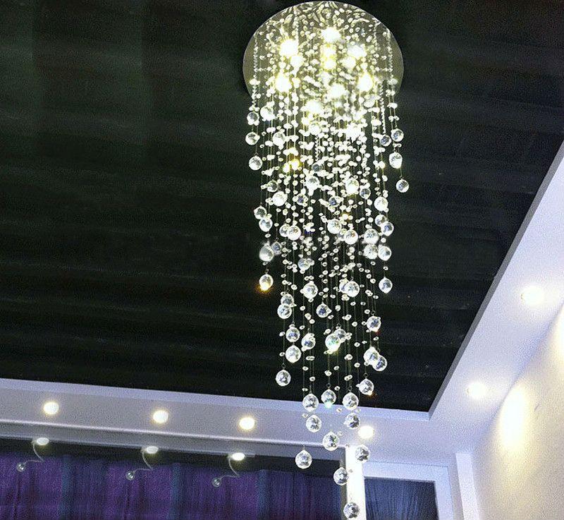 Modern Comtemporary Rain Drop Top K9 GU10 Crystal Chandelier Ceiling Lighing Fixture for Staircase Living Room