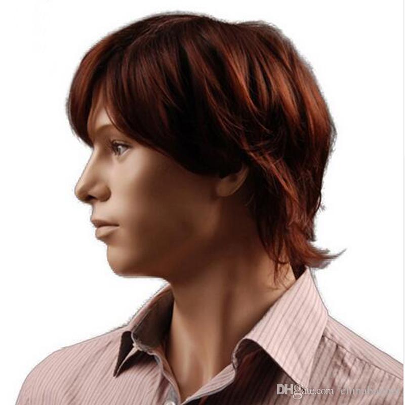 8 Zoll Puffy synthetische rötlich-braune kurze Mens-Perücke-natürliches männliches Haar-freies Verschiffen