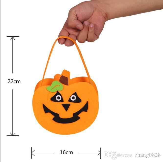 Halloween Pumpkin Candy Bag Trick Treat Cute Smile Basket Face Children Gift Handhold Pouch Tote Bag Non-woven Pail Props Decoration Toy 02