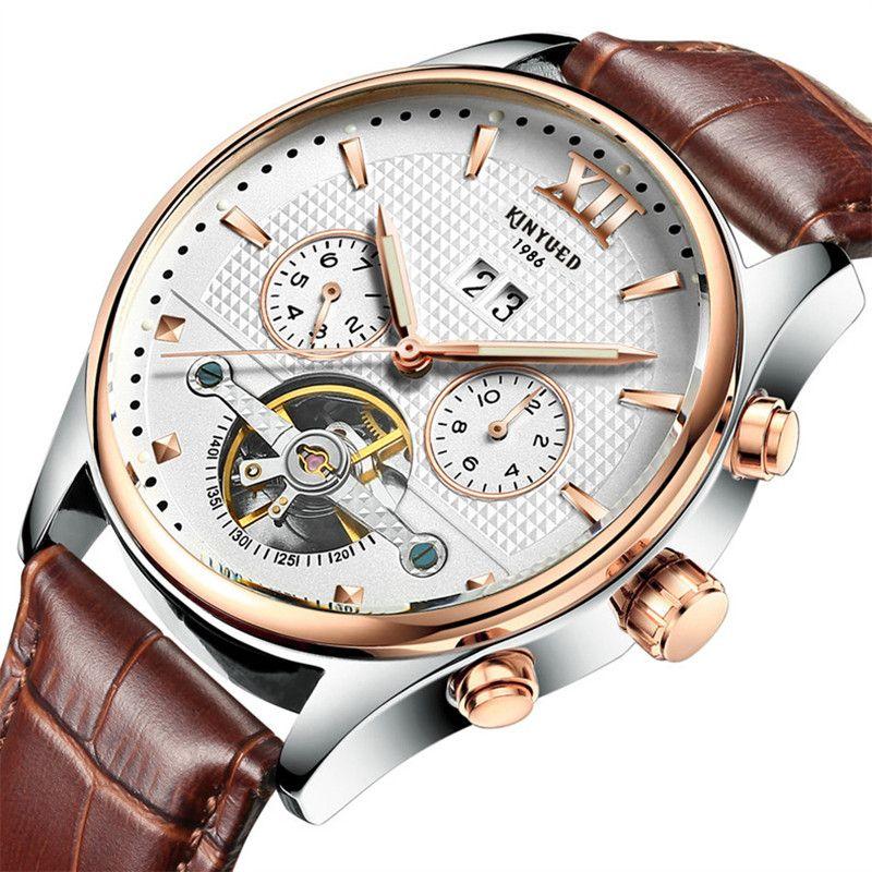 914f93e0d08c Compre Reloj Mecánico Automático De Seis Pines Negocio De Moda Masculino  Tourbillon Hueco Relojes Informales A Prueba De Agua Reloj Luminoso De  Correa De ...