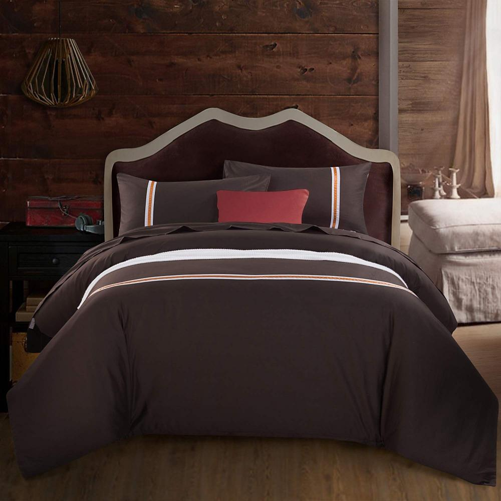 Wholesale 100 Cotton Bedding Brown Solid Printed Queen