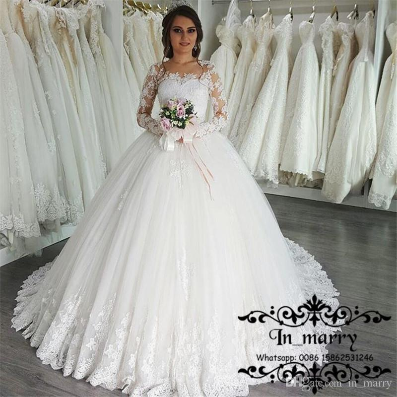2017 Arabic Design Ball Gown Lace Wedding Dresses Vintage Long Sleeves  Illusion Gelinlik Muslim Turkish Princess Bridal Gown Robe De Mariage  Wedding Shop ...