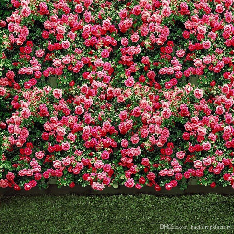 2018 Pink Flower Blossoms Wall Wedding Photo Backdrops Green Lawn Floor Outdoor Scenic Wallpaper Floral Garden Photography Backgrounds For Studio From