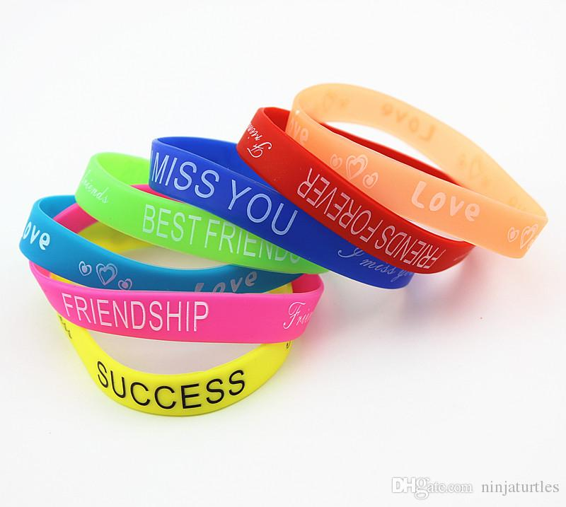 Wholesale letters Print Silicon Bracelet Mixed colors 12mm wide Rubber wristbands for men women's jewelry MB193