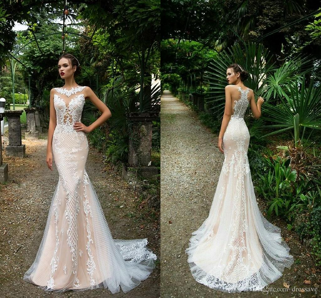 New Sexy Country Style Lace Wedding Dresses Mermaid Illusion Bodices Champagne Button Covered Back Bridal Gowns