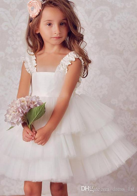 Cute 2017 New Ivory Tulle Tiered Ball Gown Flower Girls Dresses For Weddings Cheap Square Short Beach Wedding Party Gown Custom Made EN11185