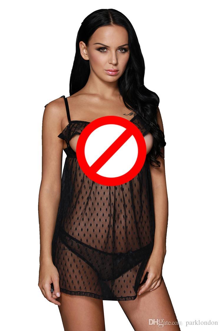 2017 venda quente de Verão Namorados Sexy Lingerie Hot Sleepwear Lingerie Erótica Plissado Copo Aberto Babydoll vestido Nightwear para as mulheres