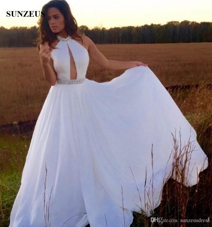 Сексуальные платья выпускного вечера из бисера высокой шеи с длинным шифоновым платьем для вечеринки замочную скважину спереди платье для особых случаев