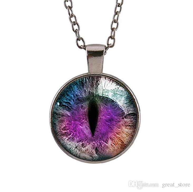 Good A++ Retro Purple Dragon Cat 's Eye Gem Pendant Necklace Fashion Sweater Chain WFN120 with chain a