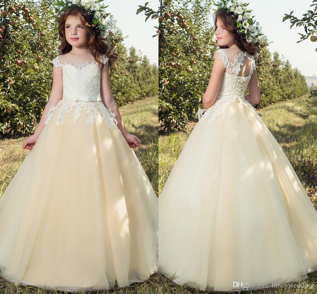 Cheap Cream Cap Sleeves Lace 2017 Flower Girl Dresses Tulle Up Vintage Little Girls Pageant Birthday Gowns Mother Of The Bride