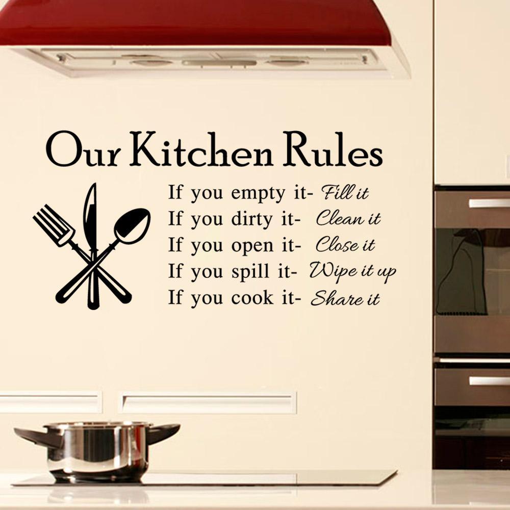 Le nostre regole di cucina Adesivo da parete per la casa Decorazioni per la  casa Decalcomanie da muro in vinile per la stanza da cucina Personaggi d ...