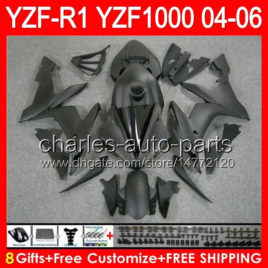 8gifts mattschwarz Körper für YAMAHA YZF R1 04 05 06 YZF-R1 04-06 93NO137 YZF 1000 YZF R 1 YZF1000 YZFR1 2004 2005 matt schwarz 2006 Verkleidung