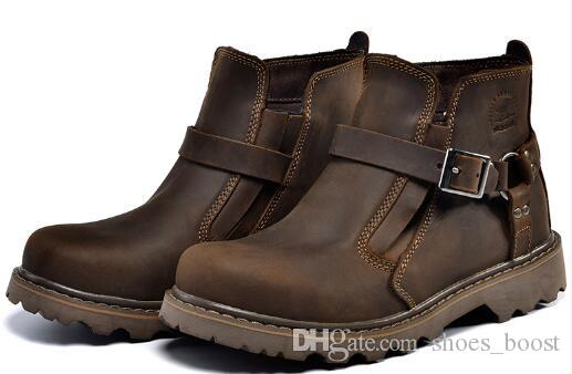 British Retro Boots Men Genuine Leather Brown Motorcycle Boots 2017