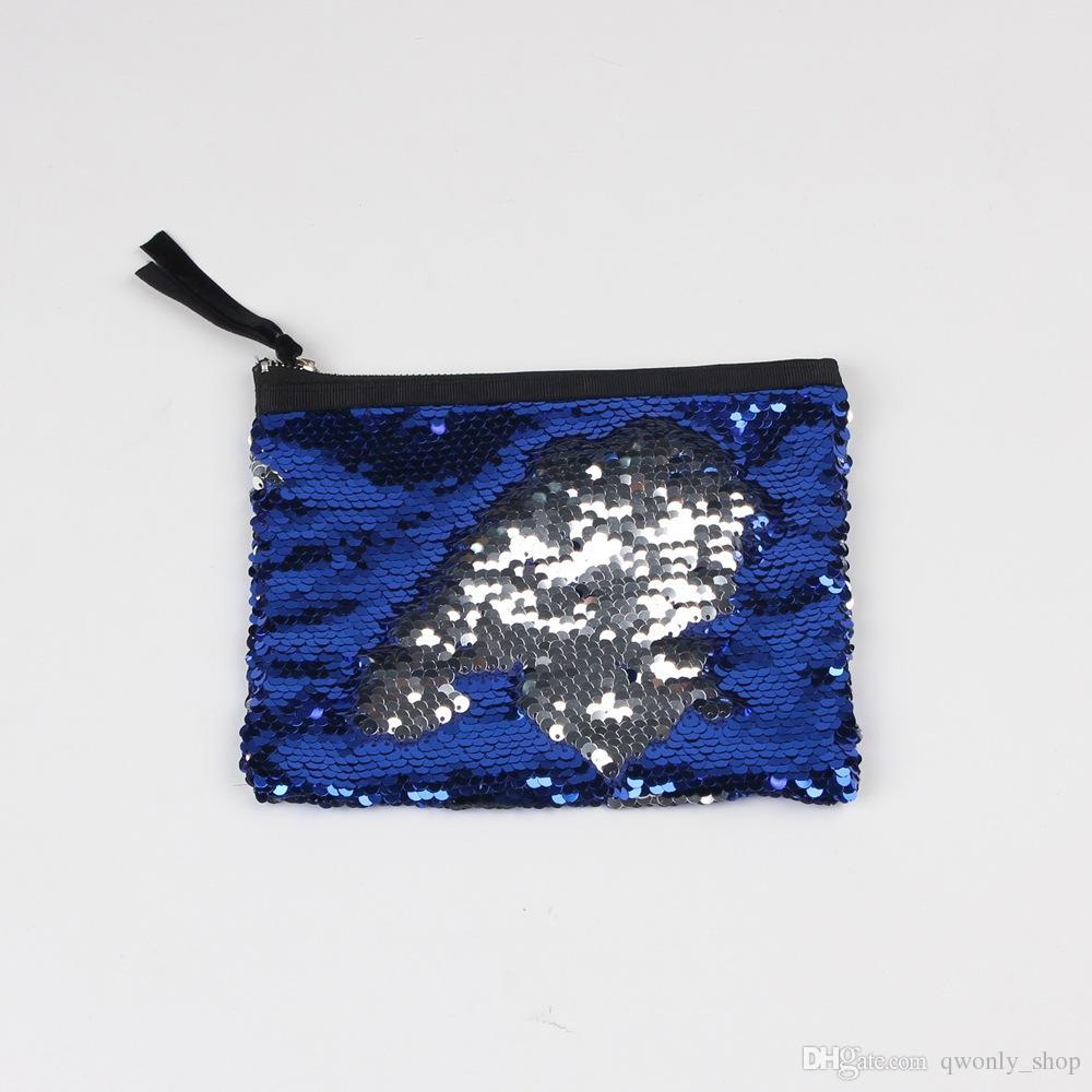 패션 여자 블 링 파우치 지갑 가방 DIY 매직 더블 색상 가역 스 와이프 Drawstring 주최 휴대용 여행 지퍼 메이크업 저장 가방