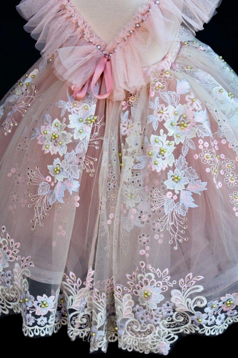Blush Pink Flower Girls 'Abiti matrimoni Pizzo Appliques Abiti Bead Tulle Ball Gown Ragazze Pageant Dress di alta qualità