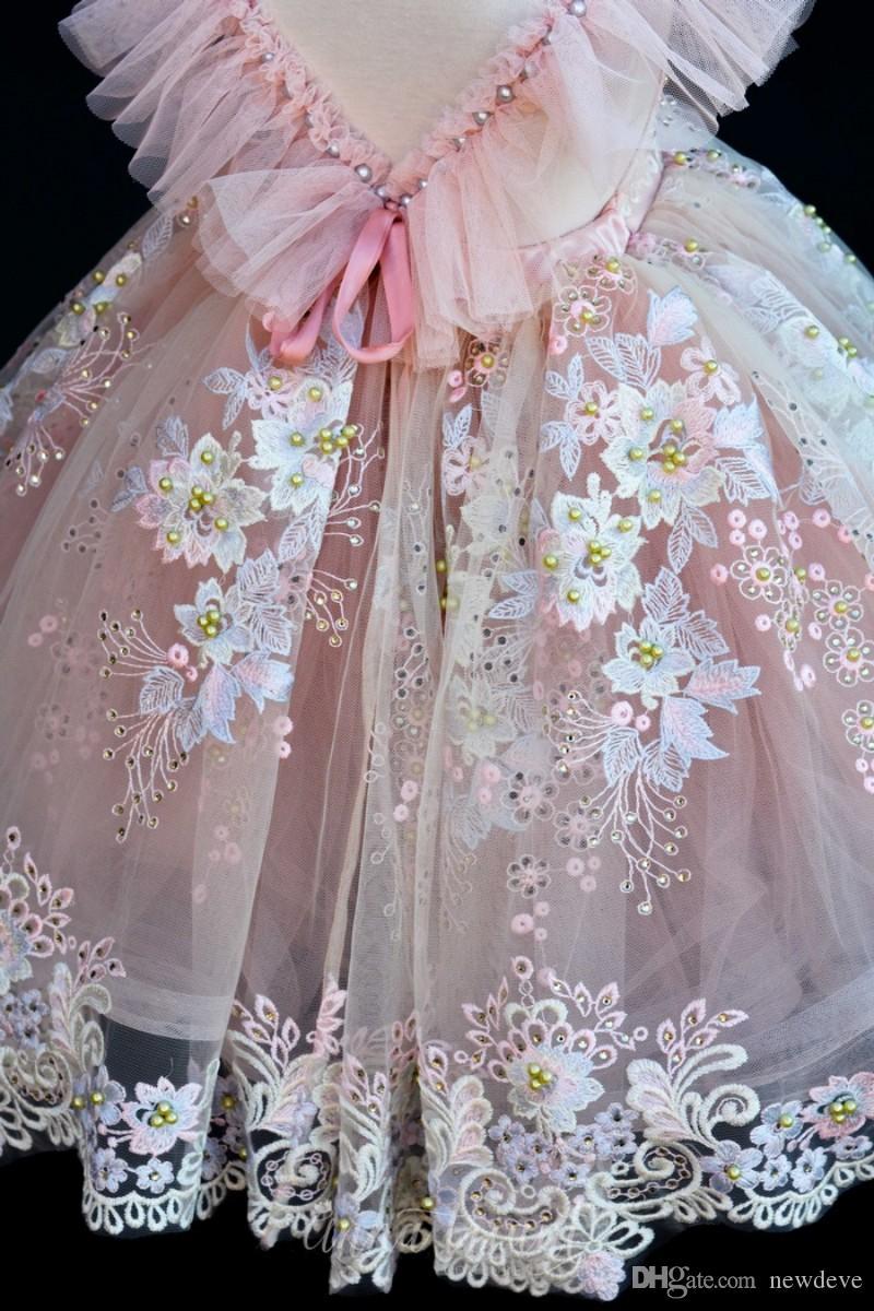 Blush Rosa Flower Girls 'Vestidos Para Casamentos Rendas Apliques Vestidos de Tule De Baile Tule Vestido De Baile Meninas Pageant Vestido de Alta Qualidade