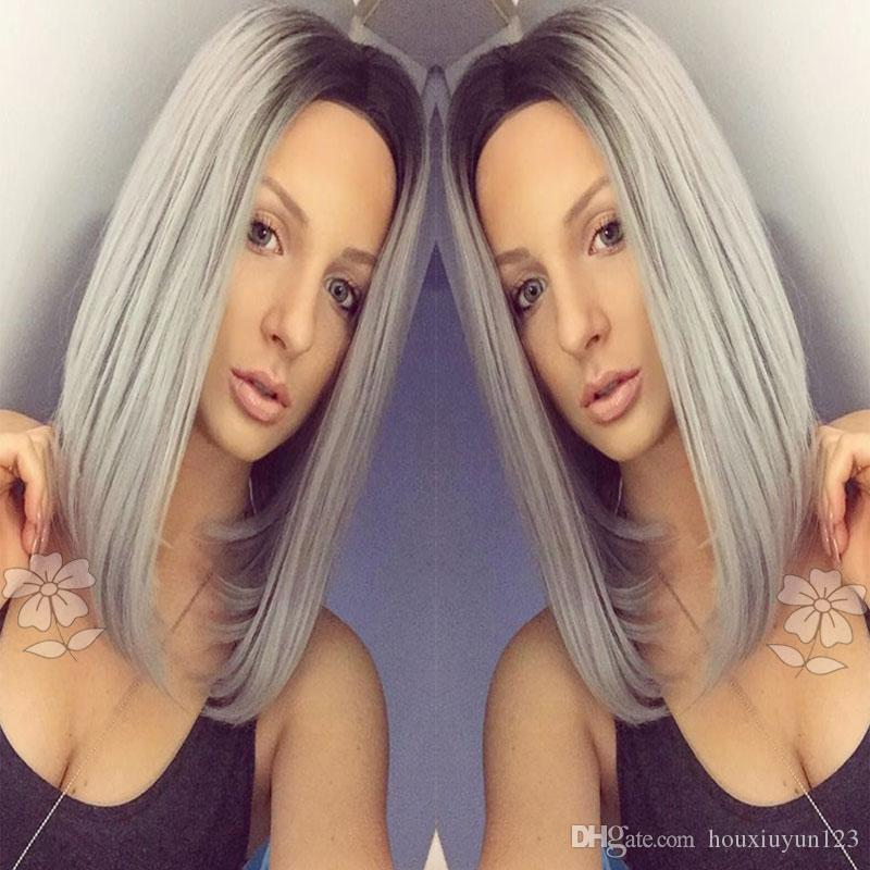 Fashion Ombre Grey Straight Short Bob Synthetic Lace Front Wig Black/Gray Ombre Medium Part Heat Resistant Bob Hair Wigs For Black Women