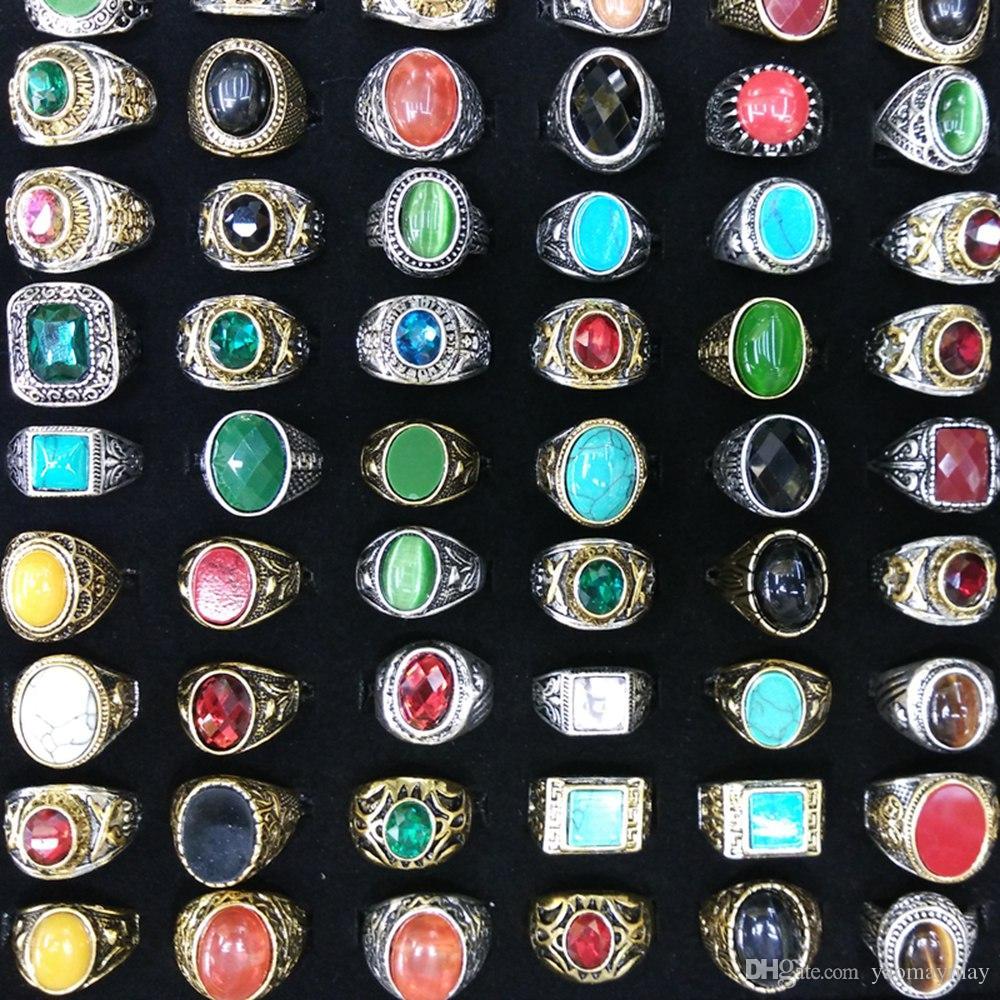 Plateó los anillos de piedra naturales arcaicos anillos del estilo chino de plata plateado oro porción mezclada al por mayor