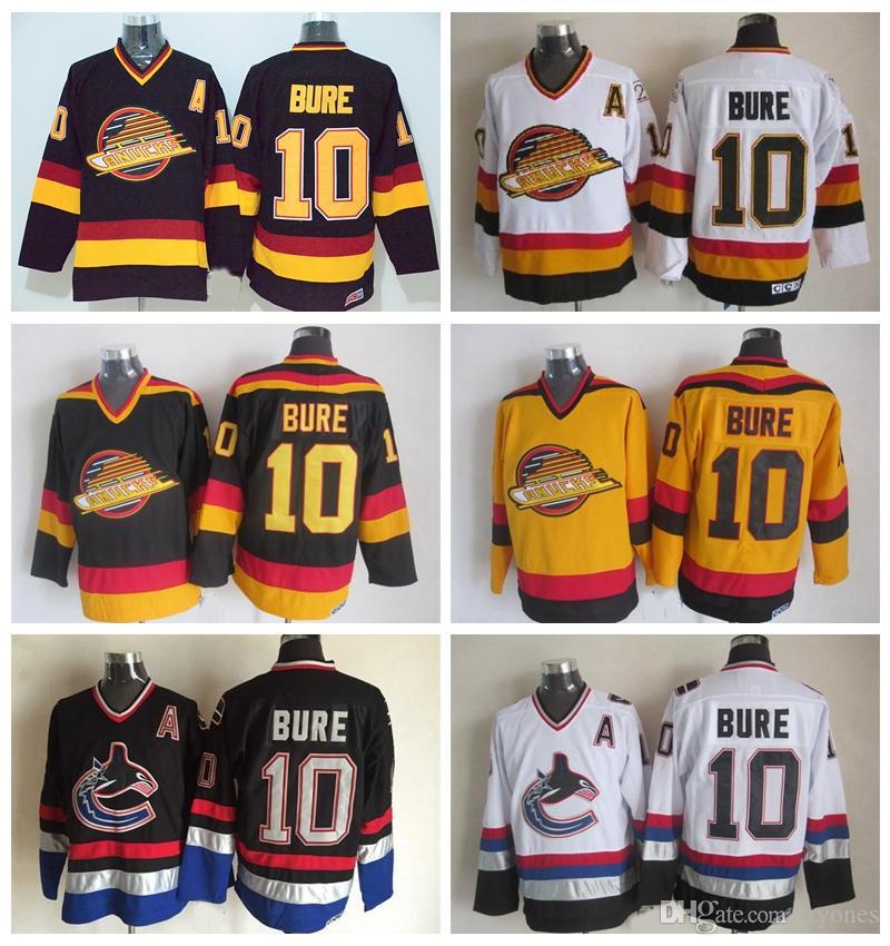 877cf8779 Pavel Bure Vancouver Canucks Hockey Jerseys 1994 CCM Vintage Black 10 Pavel  Bure Jersey Stitched Hockey Jerseys A Patch UK 2019 From Tryones