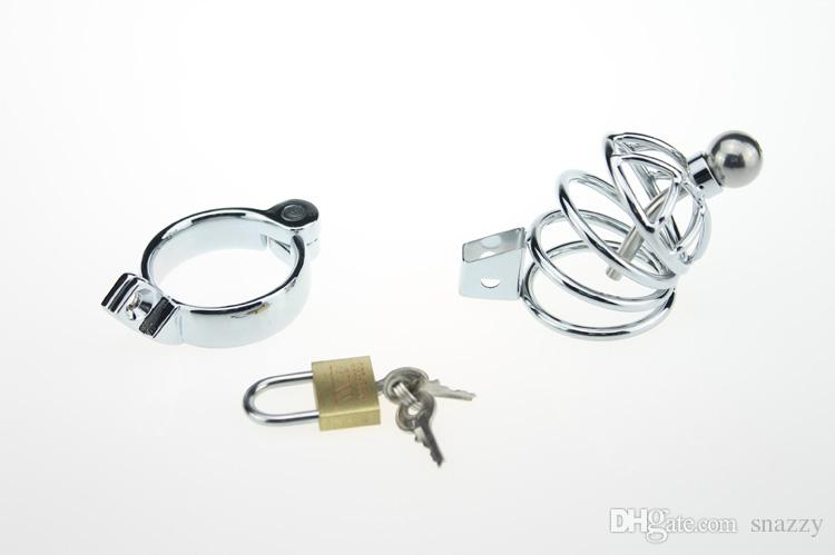 Chastity Cage con Catheter Metal Male Chastity Device con Lock Metal jaula Cinturón Uretral Tube Bondage Adult Toy 45mm 50mm 40mm tamaño Ring