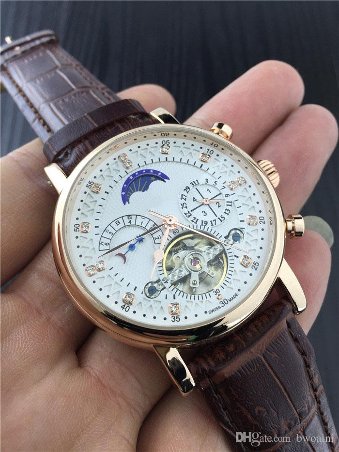 brown gearys moon watches strap arceau gents stainless phase lunar watch with hermes steel