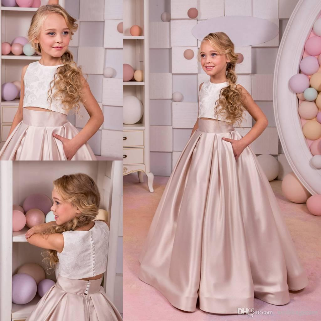 70baa13644 Two Pieces Lace Flower Girls Dresses For Wedding A Line Toddler Pageant  Dress Floor Length Satin First Communion Gowns Flower Girl Dress Toddler Flower  Girl ...