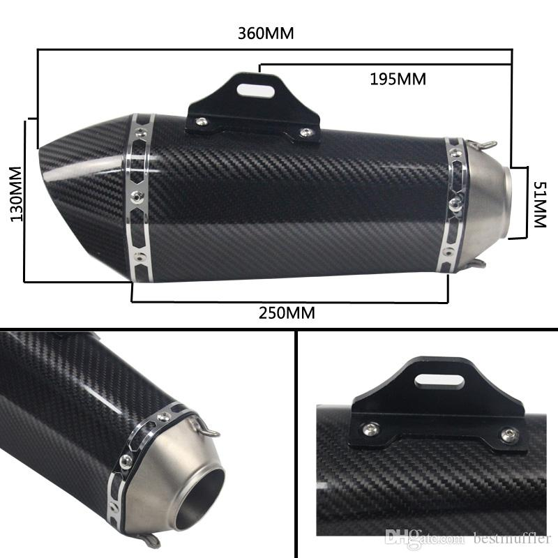 Universal Inlet 51mm Akrapovic Motorcycle Exhaust Muffler Pipe Stainless Steel and Carbon Fiber Motorbike Muffler Exhaust Escape