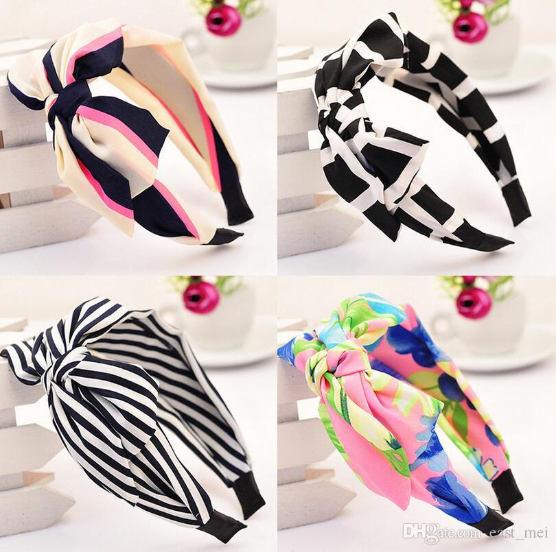 Free shipping Rabbit ear ribbons Chiffon hair bands Ultra wide side big bow knives head hoop female TG182 mix order 30 pieces a lot